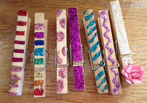 clothespin crafts for craft glittered clothespin magnets events to