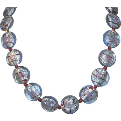 vintage glass bead necklace vintage venetian glass bead necklace sterling clasp