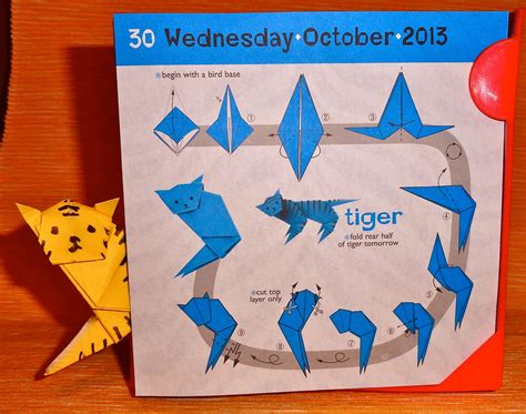 advanced origami tiger my daily calendar day 303 october 30 2013 smilingbagel