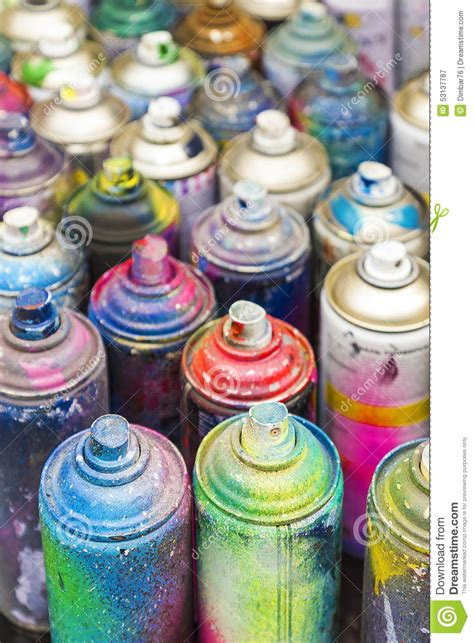 spray painting uses used cans of spray paint stock image image of image