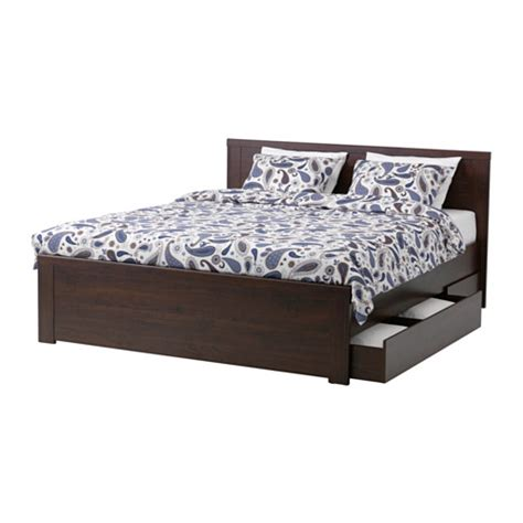Box Frame Bed Frame Brusali Bed Frame With 4 Storage Boxes Lur 246 Y Ikea