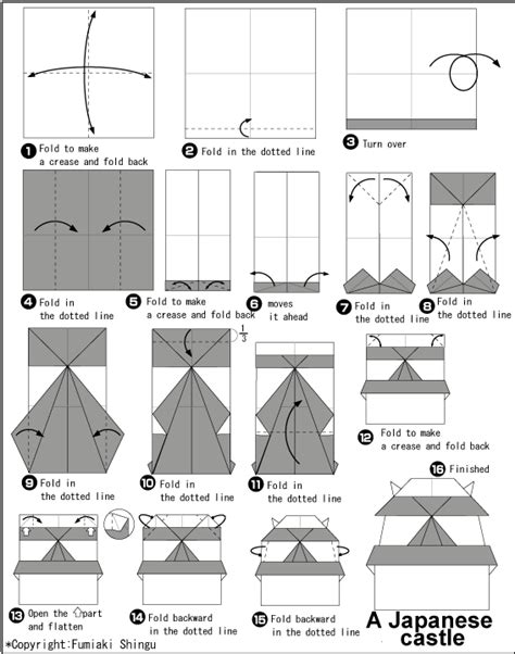 how to make a origami castle diagram