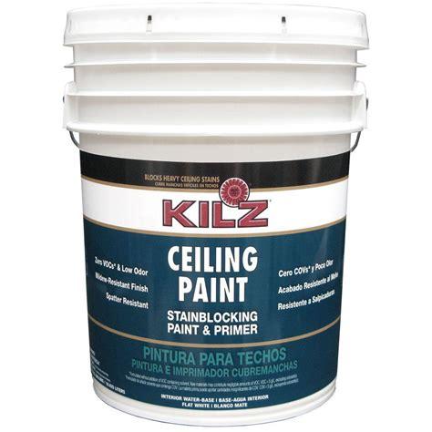 home depot paint primer kilz white flat 5 gal interior stainblocking ceiling