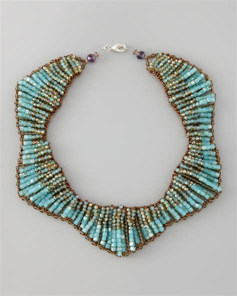 statement beaded necklace panacea beaded statement necklace in blue lyst