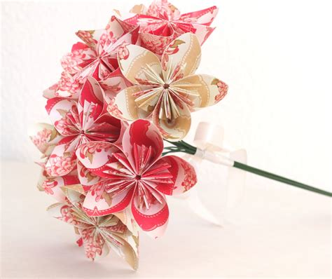 bouquet origami origami paper flower bouquet pink and beige