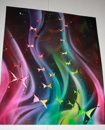 spray painting uses this artist doesn t use just paint to create his you