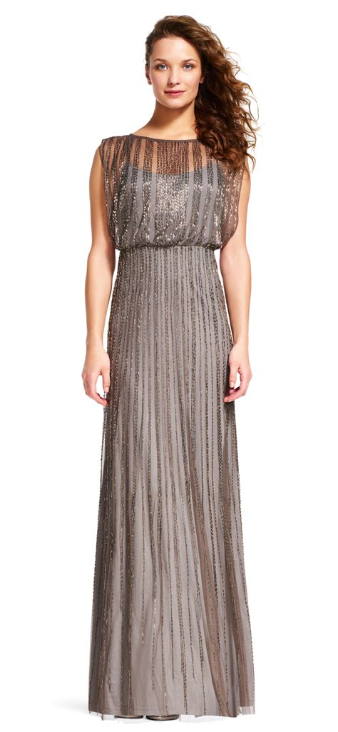 beaded mesh blouson gown papell beaded blouson gown with sheer details in