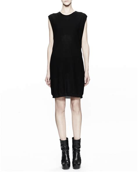 Rick Owens Sleeveless Cotton Knit Tunic Dress In Black Lyst