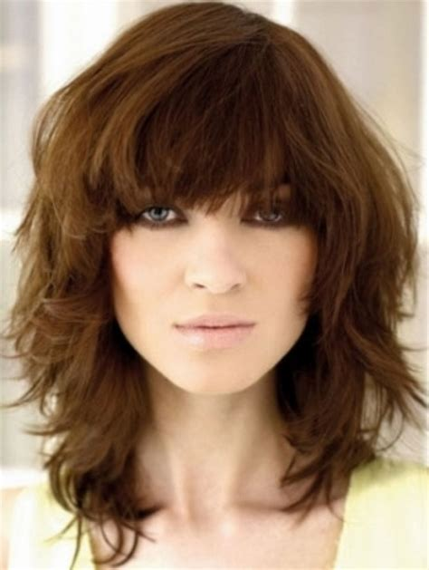 layered medium lenght hair with bangs layered medium hairstyles with bangs