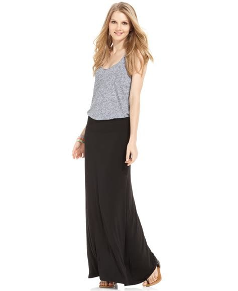 knit maxi skirts kensie solid knit maxi skirt in black lyst