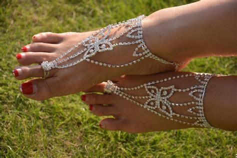 how to make foot jewelry with 1 pair 2pcs barefoot sandals foot jewelry bridal