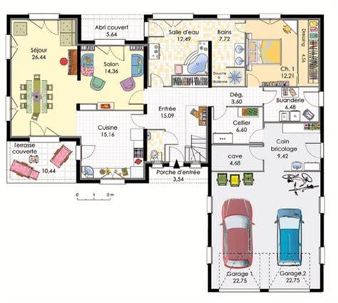 Garage Plans With Carport plan maison en l avec garage pour 2 voitures plans amp maisons