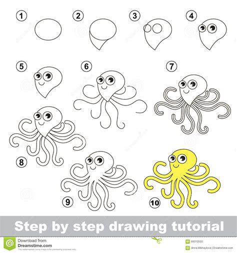 by step comment dessiner un poulpe illustration de vecteur image