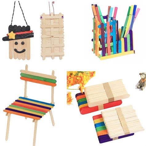 building crafts for 50pcs stick new wooden popsicle stick