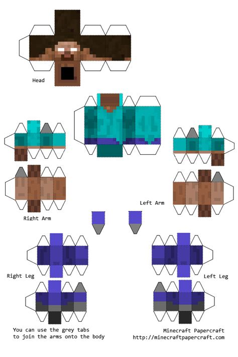 paper pixel craft papercraft minecraft herobrine with elbows and knees