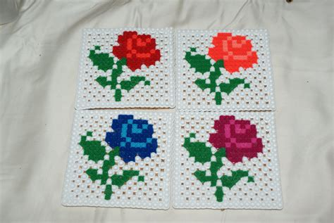 bead of roses set of 4 perler bead coasters flower coasters garden