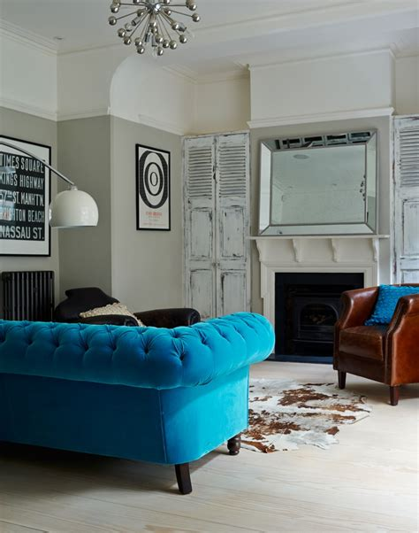 blue sofas living room give a living room character with clever colour ideas