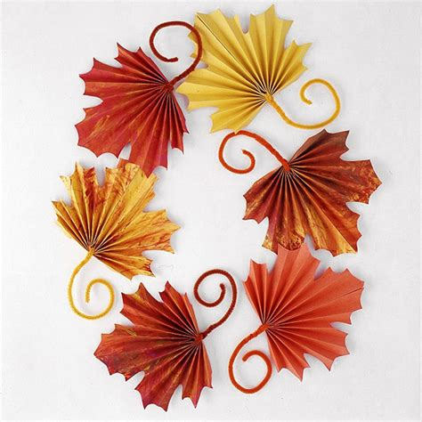 paper leaves craft fan folded paper leaves a thanksgiving craft for