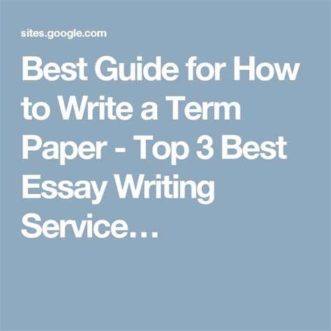 Write Term Papers by Write A Term Paper