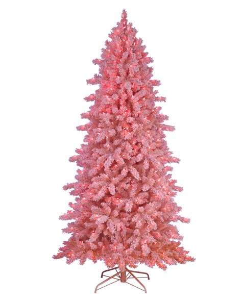 pink flocked tree pink frosting flocked artificial tree treetopia