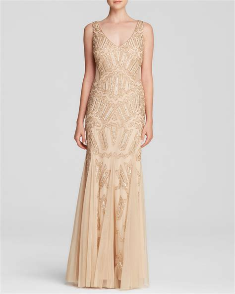 gold beaded gowns papell gown v neck beaded illusion panel