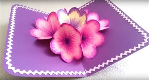 how to make a flower pop up card diy 3d flower pop up card diy thought
