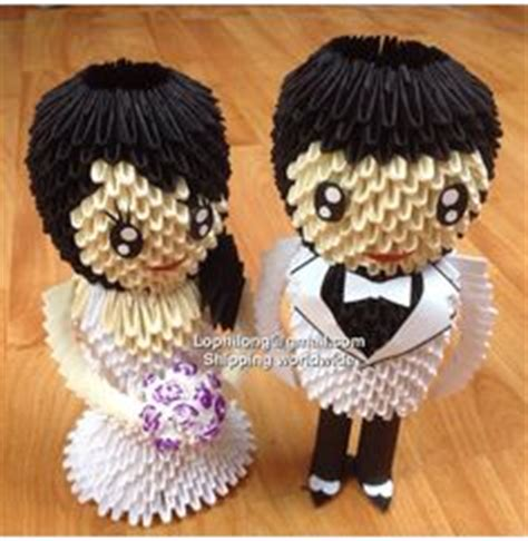 3d origami and groom groom and white back wedding decoration 3d