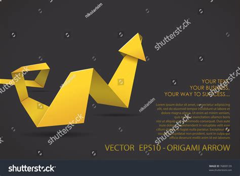 three dimensional origami origami threedimensional arrow stock vector 76800139