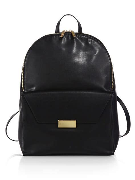 black leather backpacks stella mccartney beckett faux leather backpack in black lyst