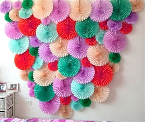 paper craft decoration home 4pc 10inch 25cm tissue paper fan honeycomb fan decoration