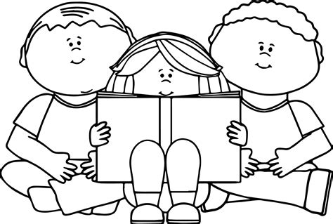 black and white picture books for babies reading book coloring page wecoloringpage