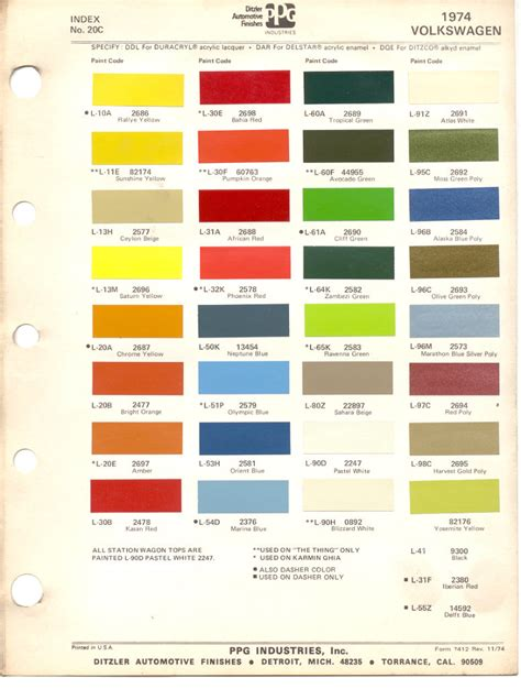 paint colors for vw beetle paint chips 1974 beetle vw volkswagen vw renk