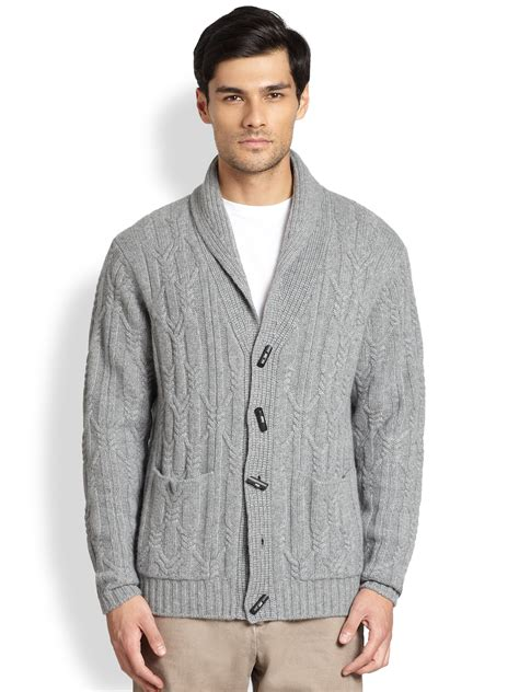 mens grey knitted cardigan saks fifth avenue shawl cable knit cardigan in gray for