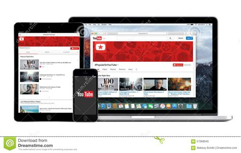 youtube app logo on the iphone ipad and macbook pro screen