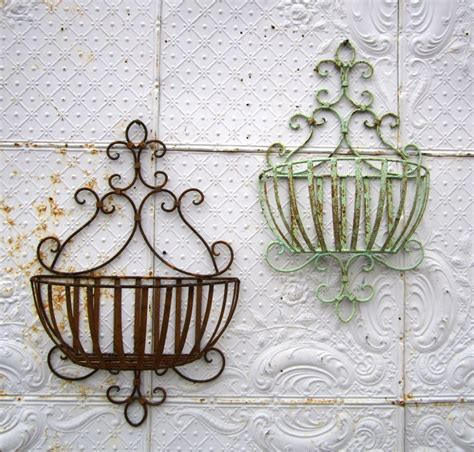 wall garden baskets wrought iron susanna half wall baskets in 2 sizes