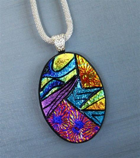 dichroic jewelry oval glass necklace dichroic jewelry fused glass pendant