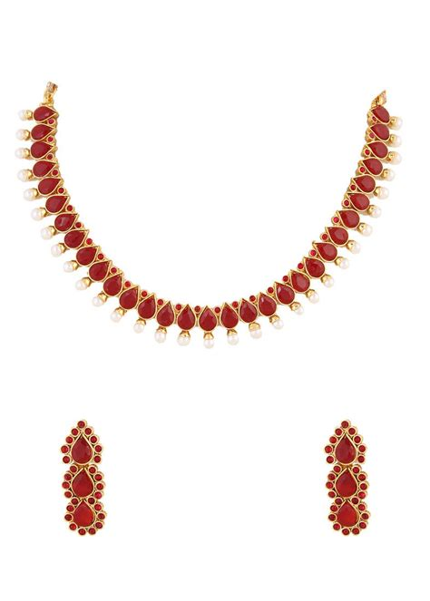 indian necklace buy ruby indian necklace set