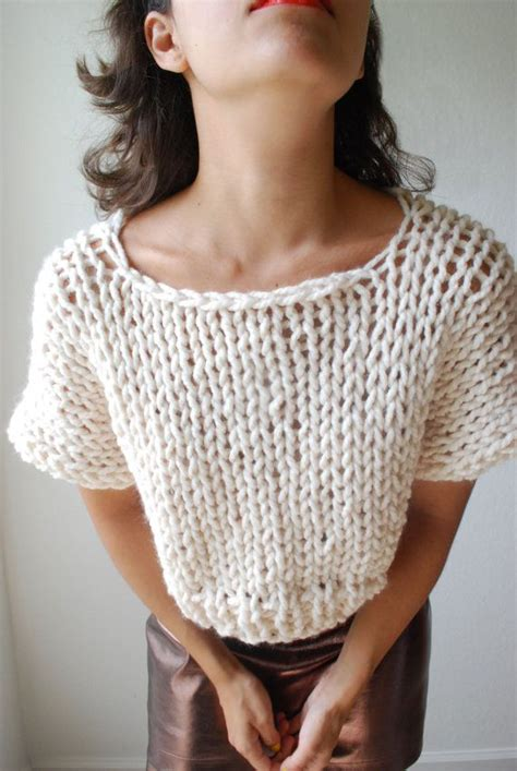 knitted crop tops the soho crop top sweater knit in fisherman par