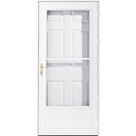 pella retractable screen door shop pella helena white mid view safety wood