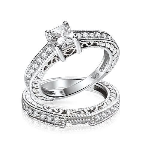sterling silver 0 75ct 5mm cz sterling silver wedding engagement ring set