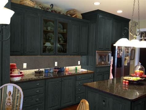 Painted Old Kitchen Cabinets dark gray color painting old oak kitchen cabinets with