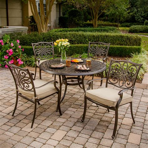 5 patio dining set shop hanover outdoor furniture traditions 5 bronze
