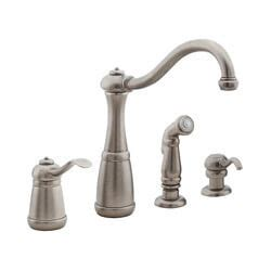 pewter kitchen faucets t26 4nee t26 4nee rustic pewter 4 kitchen faucet with spray and soap dispenser
