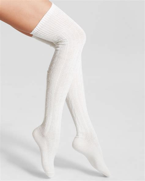 white cable knit knee high socks hue chunky cable knit the knee socks in white ivory