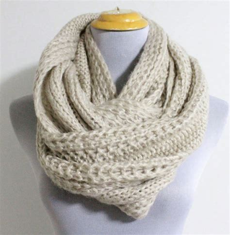 infinity knit scarf oatmeal chunky knit infinity scarf cozy winter by