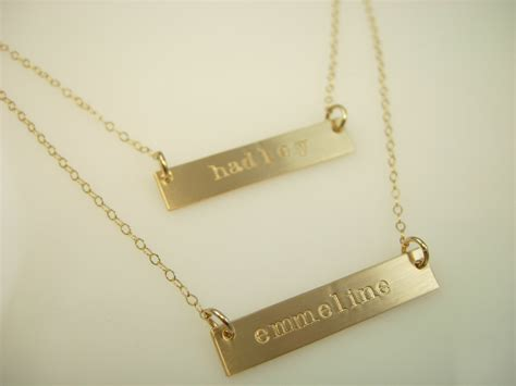 how to make engraved jewelry gold bar necklace layered necklace by jamesmichellejewelry