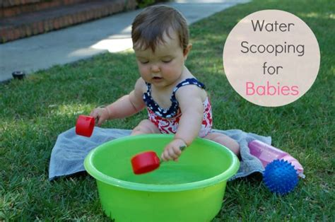 water for sensory play water scooping for babies tinkerlab