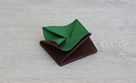 purse origami origami leather coin purse row brown and bunker green