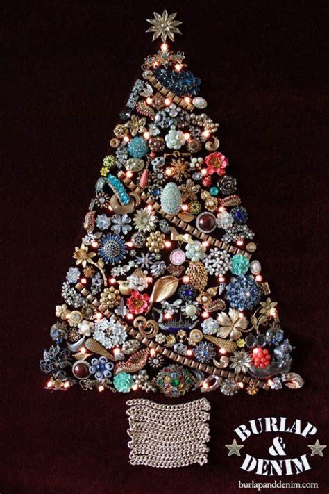 how to make a costume jewelry tree vintage costume jewelry treeburlap denim