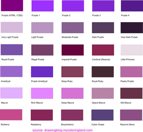 shades of purple paint hues shades and tints of purple common names their rgb